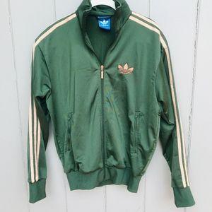 Adidas Originals Three Stripes Green Zip Up Jacket